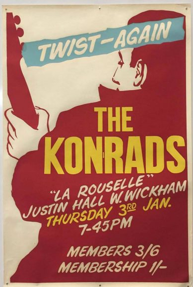 Poster for the Konrads at Justin Hall, West Wickham, 3 January 1963
