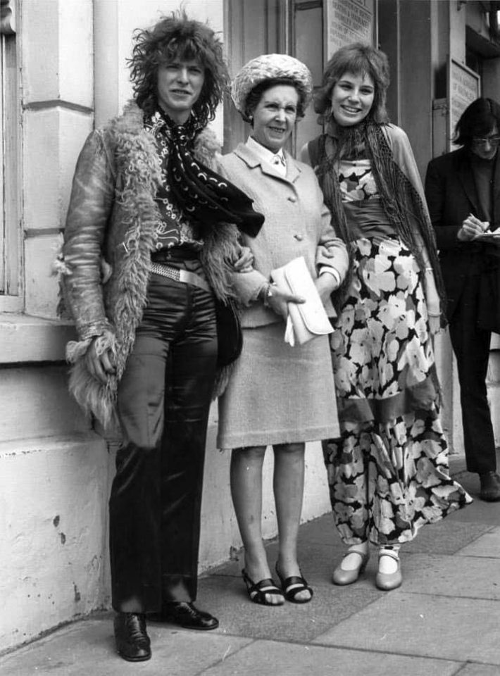 David Bowie and Angela Barnett on their wedding day, with Bowie's mother Peggy, 20 March 1970