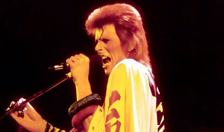 David Bowie at the Ziggy Stardust farewell show, Hammersmith Odeon, London, 3 July 1973