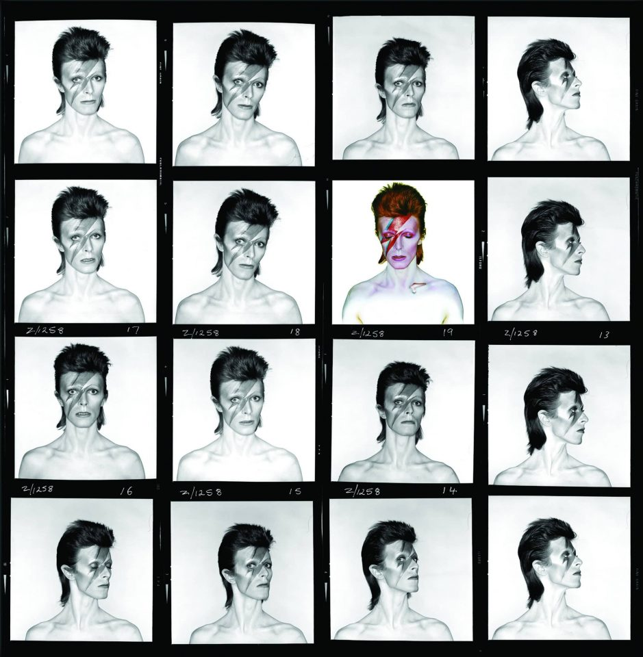 Aladdin Sane contact sheet – photographs by Brian Duffy