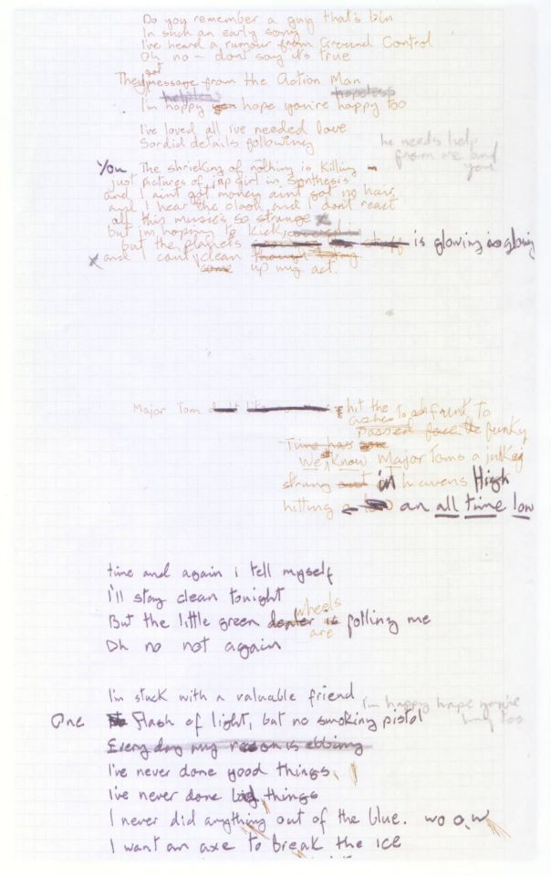 David Bowie's handwritten lyrics for Ashes To Ashes