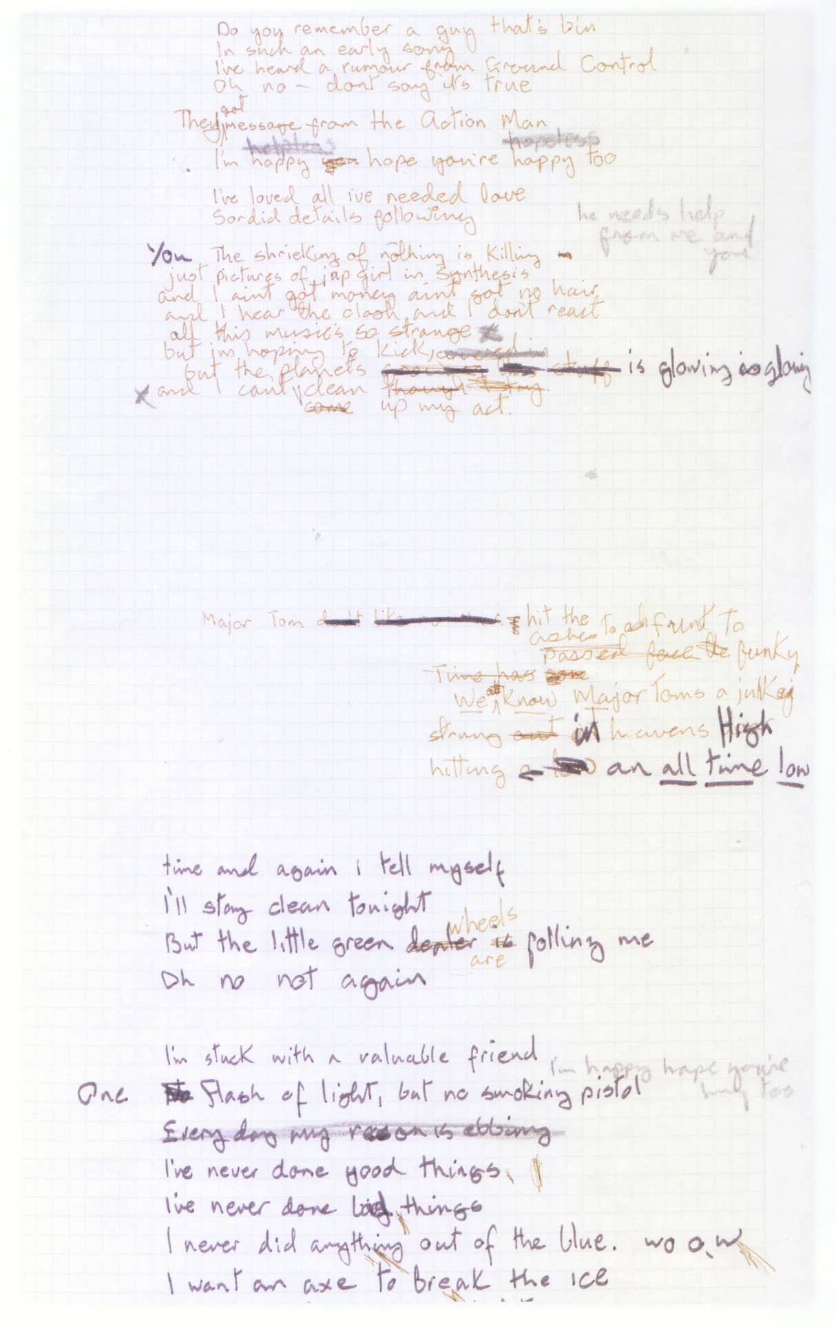 David Bowie's handwritten lyrics for Ashes To Ashes – The Bowie Bible